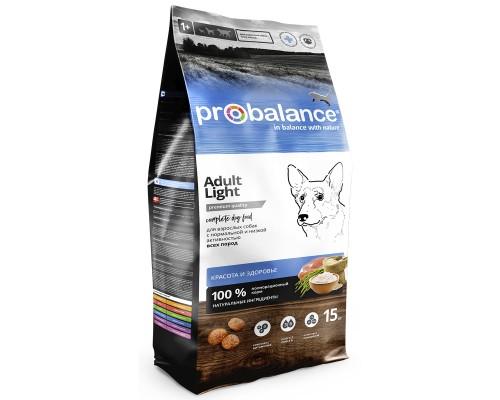 Корм ПроБаланс для взрослых собак Эдалт Лайт всех пород 15 кг (Probalance Adult Light)